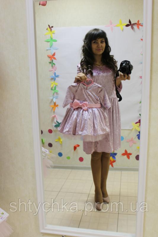Нарядное платье на маму и доченьку с рукавами с  велюра и детское с фатином