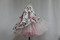 """Нарядное платье на девочку """"Цветочное настроение"""" модель № 2  с розовым фатином и рукавами"""