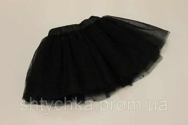 Нарядная черная юбочка с бусинками