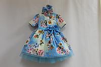 """Нарядное платье на девочку """"Платья на маму и доченьку """"Голубое облачко """" с рукавами"""""""