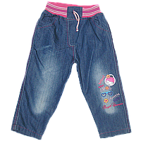 Детские джинсы с трикотажными поясом и шнурком-регулятором, с вышивкой, р. 80, 86, 92, 98, 104, 110, Турция 92 Синий