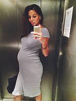Платье для беременных в полоску из трикотажа