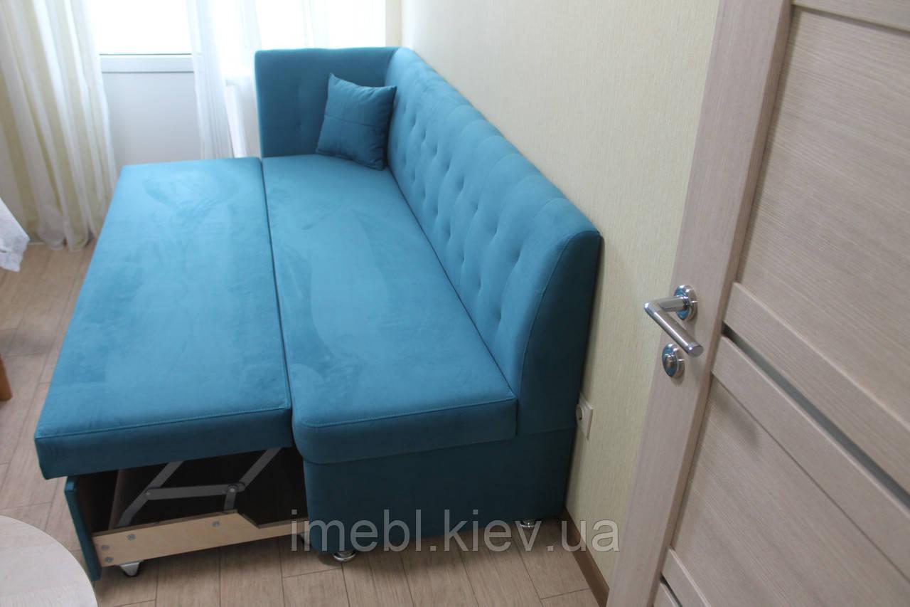 Угловой диван со спальным местом для узкой кухни (Голубой)