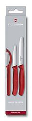 Набір кухонних ножів з нержавіючої сталі Victorinox SwissClassic червоного кольору