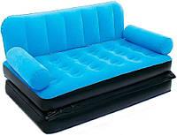 Надувной диван Bestway 67356B, 188 х 152 х 64 см, с электрическим насосом.Диван трансформер голубой