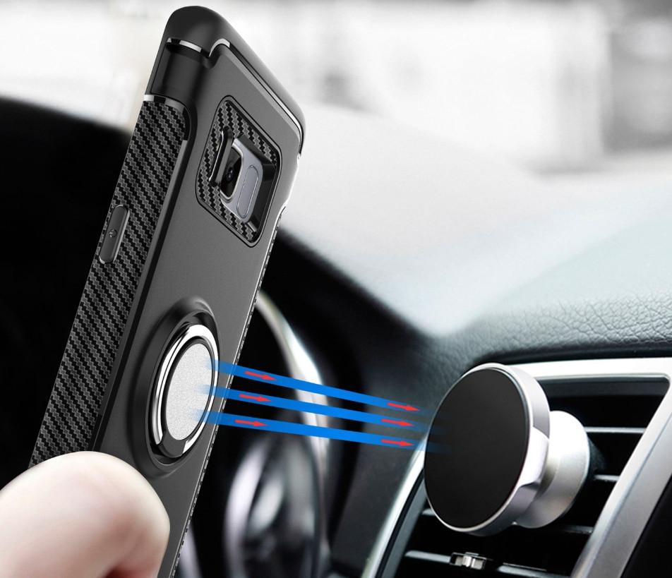 Противоударный бампер с магнитом и кольцом для Huawei P8 Lite (2017)