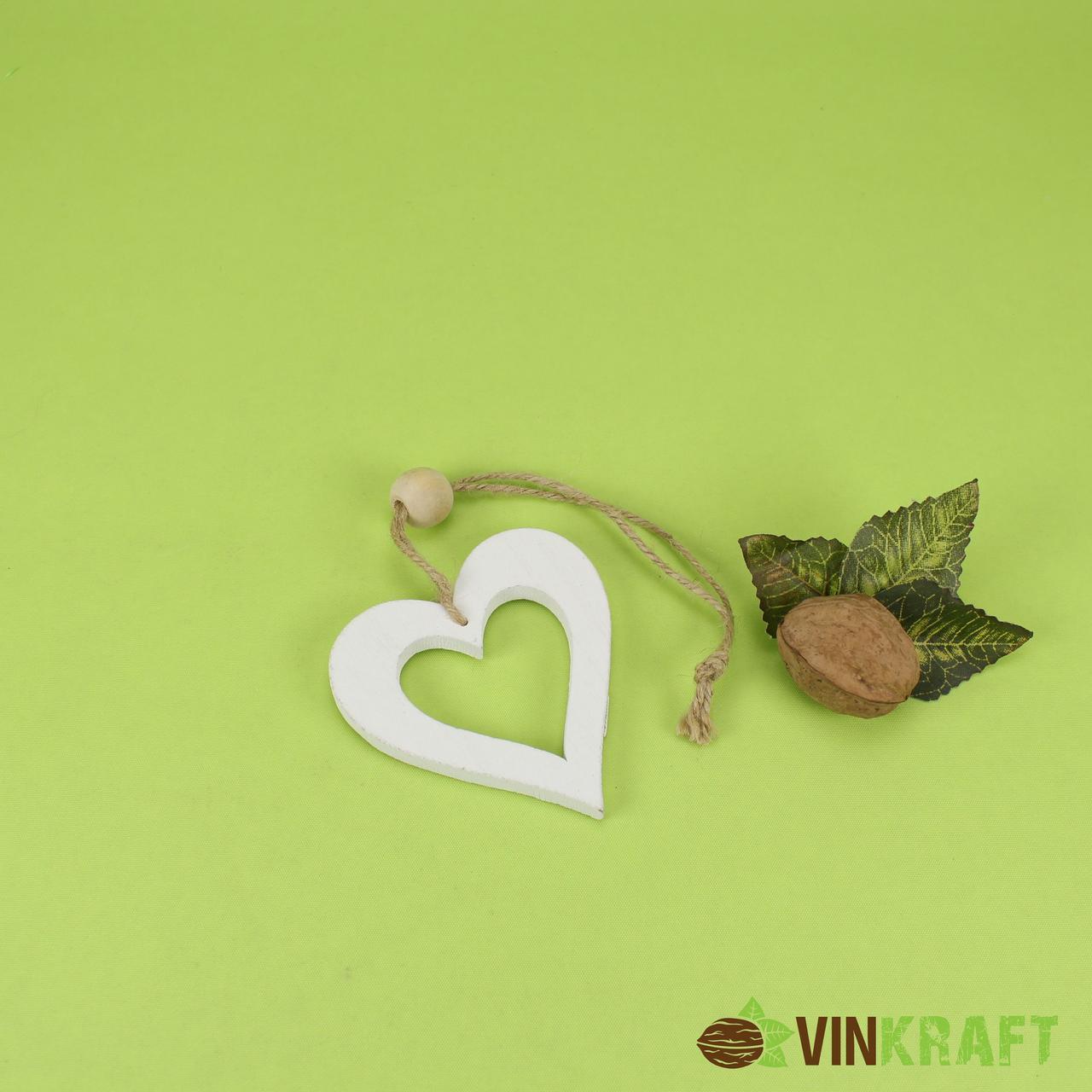 """Декор-підвіска дерев'яна серце """"біле"""" (11-12 см)"""