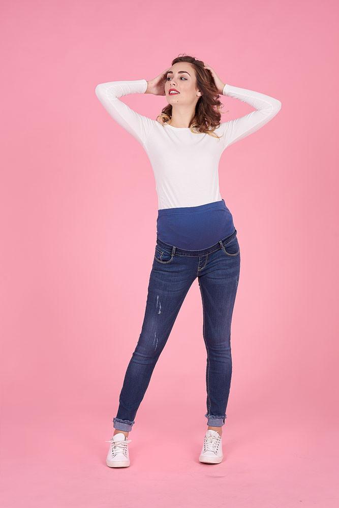 a339a660f5508f5 Стильные джинсы для беременных, синие - Интернет-магазин