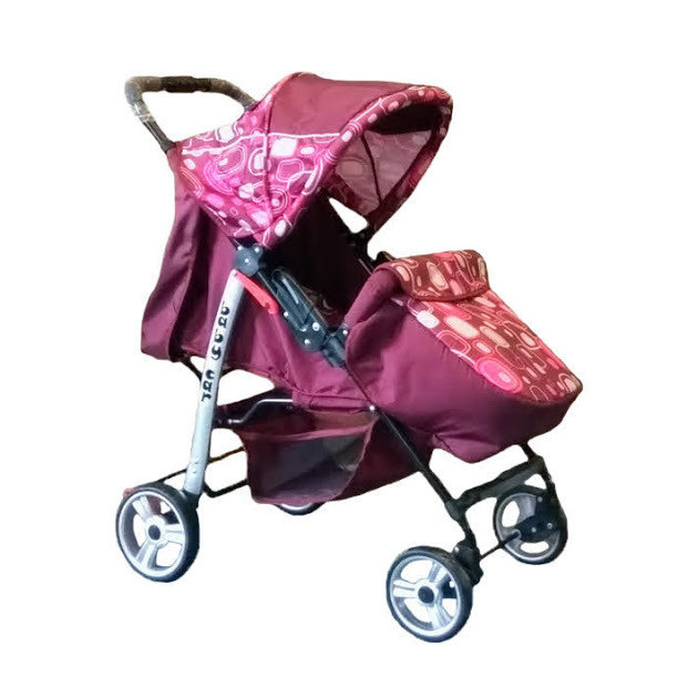 Trans Baby Прогулочная коляска Trans Baby Baby Car Burgundy / Pink Abstraction (BaCar 2/Cube G)