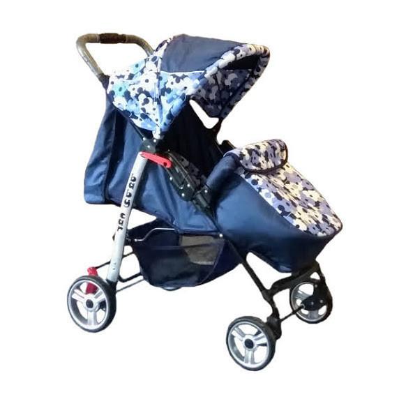 Trans Baby Прогулочная коляска Trans Baby Baby Car Dark Blue / Light blue Flower (BaCar 13/Flower13)