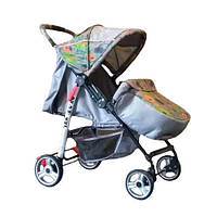 Trans Baby Прогулочная коляска Trans Baby Baby Car Grey / Green abstraction (BaCar 39/CE)