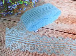 """Мереживо """"Ракушка"""", 4,8 см, колір блакитний"""