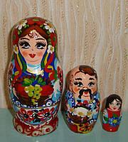 Украинская расписная матрёшка из трёх штук средняя 319