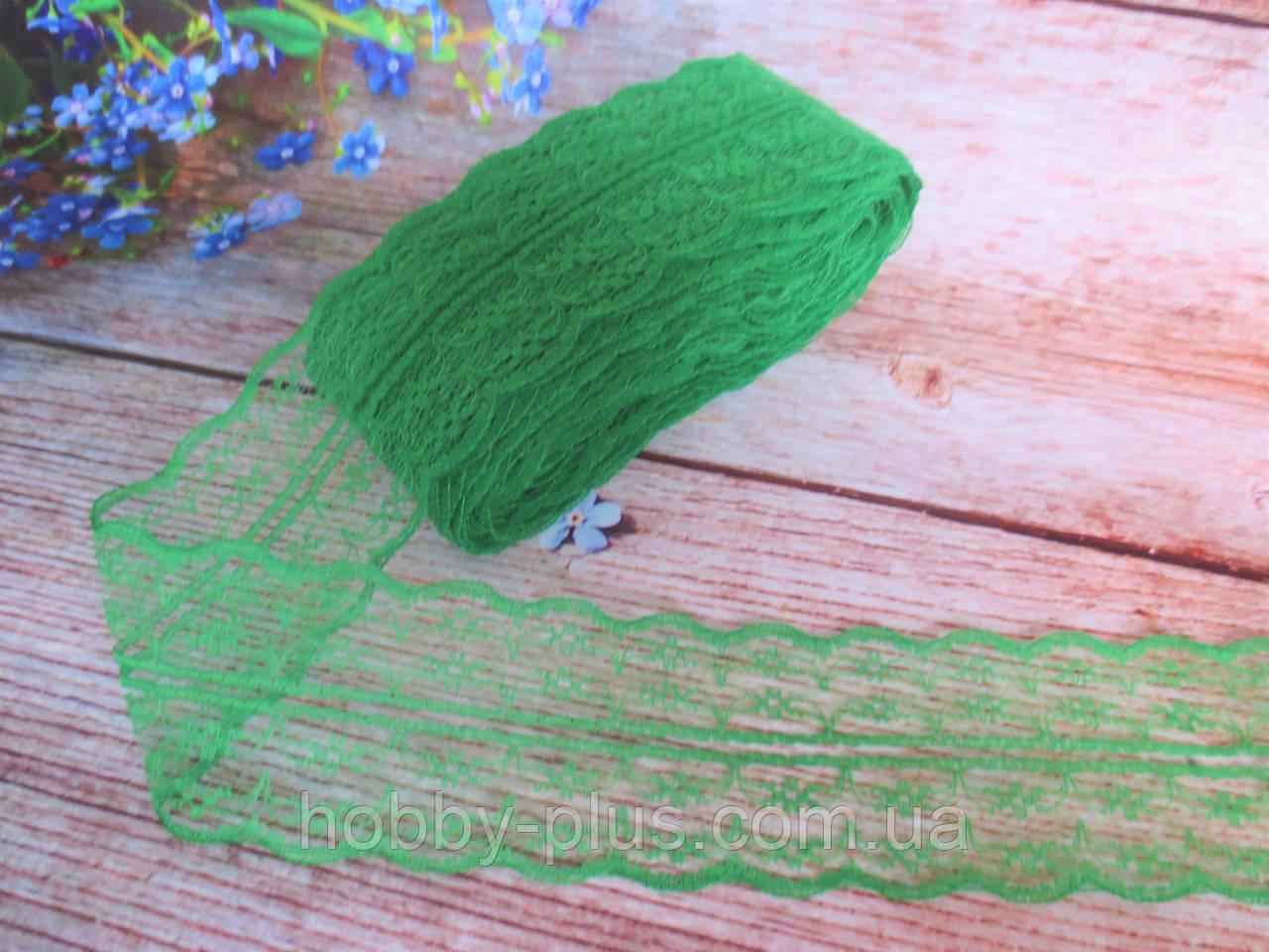 """Кружево """"Цветочек"""", 4,5 см, цвет зеленый"""