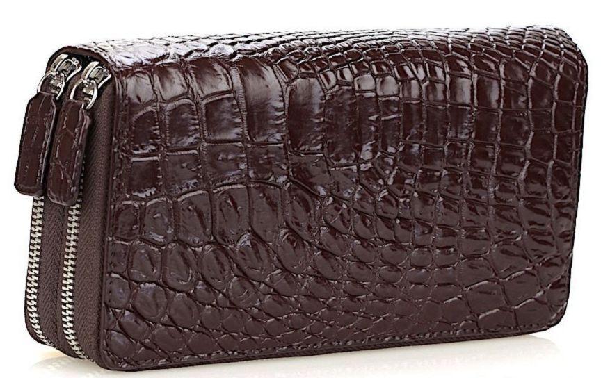 eb22cf2518c2 Кошелек-клатч CROCODILE LEATHER 18260 из натуральной кожи крокодила  Коричневый, Коричневый