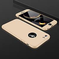 Чехол GKK 360 для Iphone 7 / Iphone 8 Бампер оригинальный с вырезом Gold
