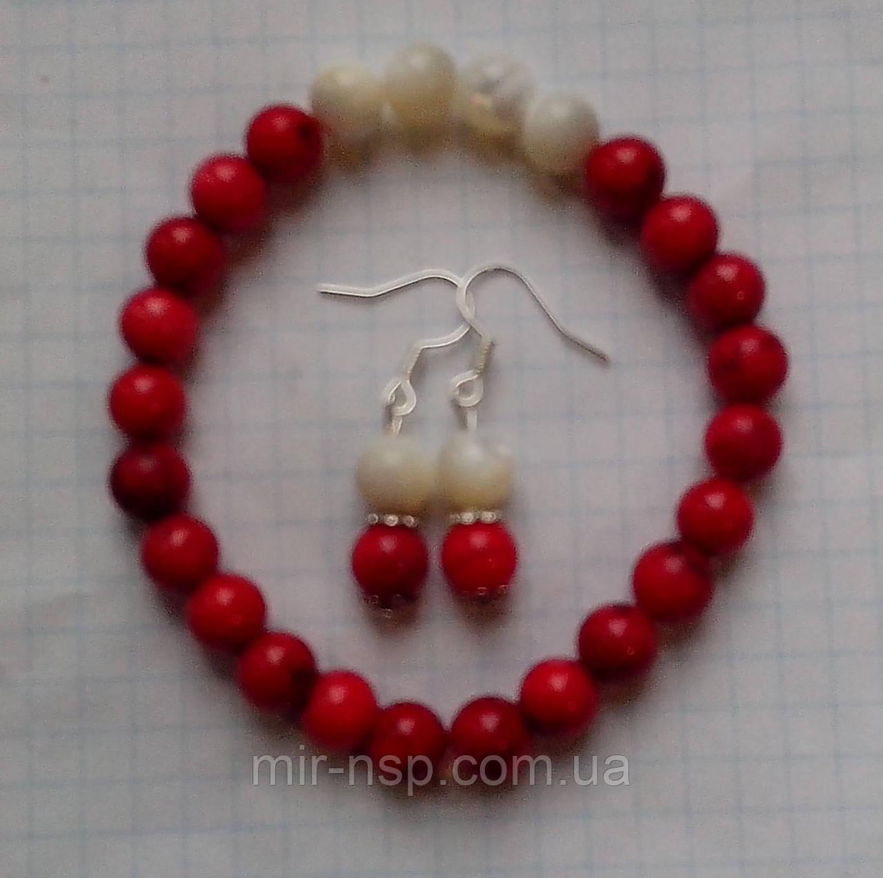 Набор браслет и серьги натуральные коралл и перламутр 8 мм