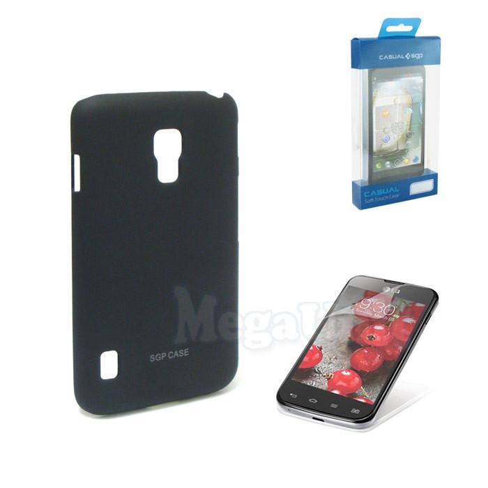 Пластиковый чехол + пленка для LG P715 L7-II Черный