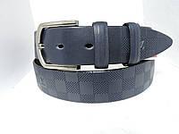 Джинсовый кожаный ремень 4 см Синий