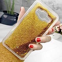 Чехол Glitter для Samsung Galaxy J7 2016 / J710 Бампер Жидкий блеск Золотой