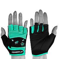 Перчатки для зала Powerplay 3492 женские  BLACK/GREEN размер S