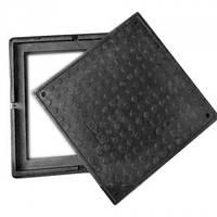 Люк квадратный  полимерпесчаный черный (1,5т) р.480/640