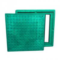 Люк квадратный  полимерпесчаный зелёный (1,5т) р.480/640