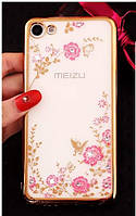 Чехол Luxury для Meizu U20 ультратонкий Бампер Gold