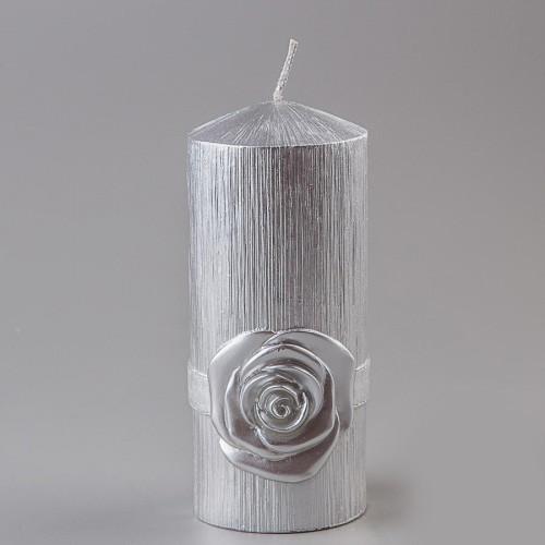 """Свадебная свеча ручной работы """"Чайная роза"""" серебро"""