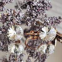 """Серьги """"Белый кристалл"""" с крупными белыми камнями Сваровски, золотистый металл, ювелирный сплав."""