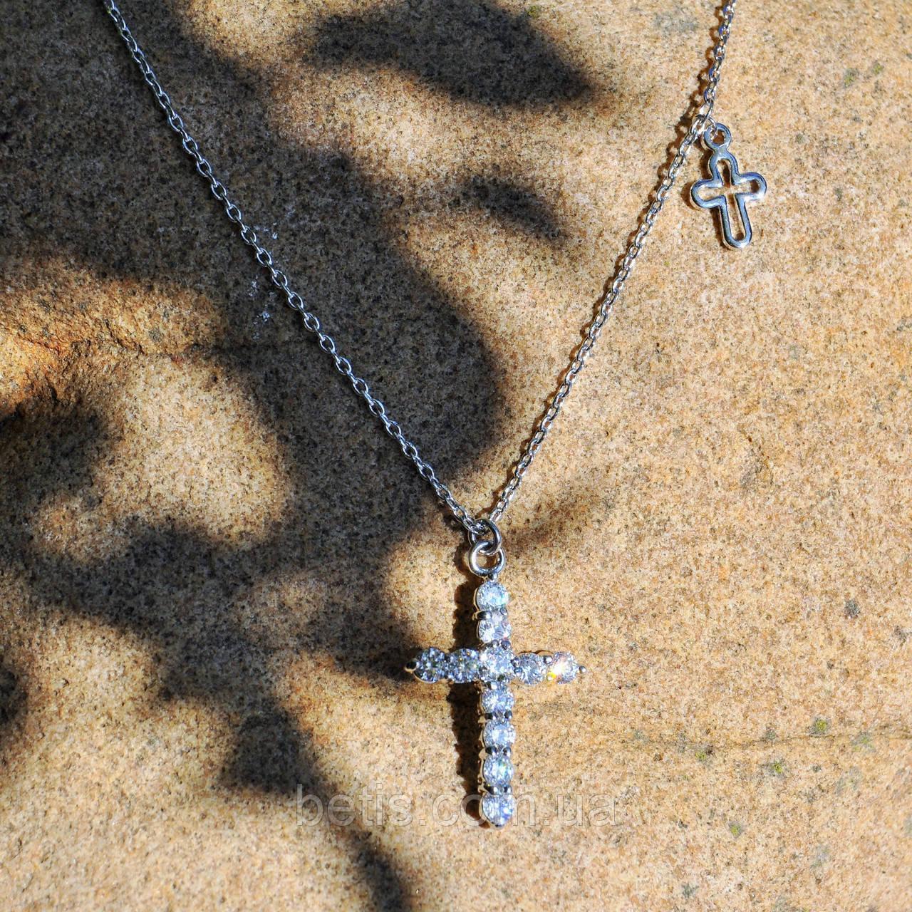 Ланцюжок з двома крестикми ,ювелірний сплав,сріблястий колір