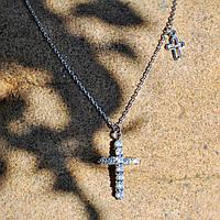 Цепочка с двумя крестикми ,ювелирный сплав,серебристый цвет