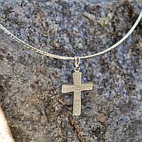 Цепочка с крестиком, ювелирный сплав,серебристый