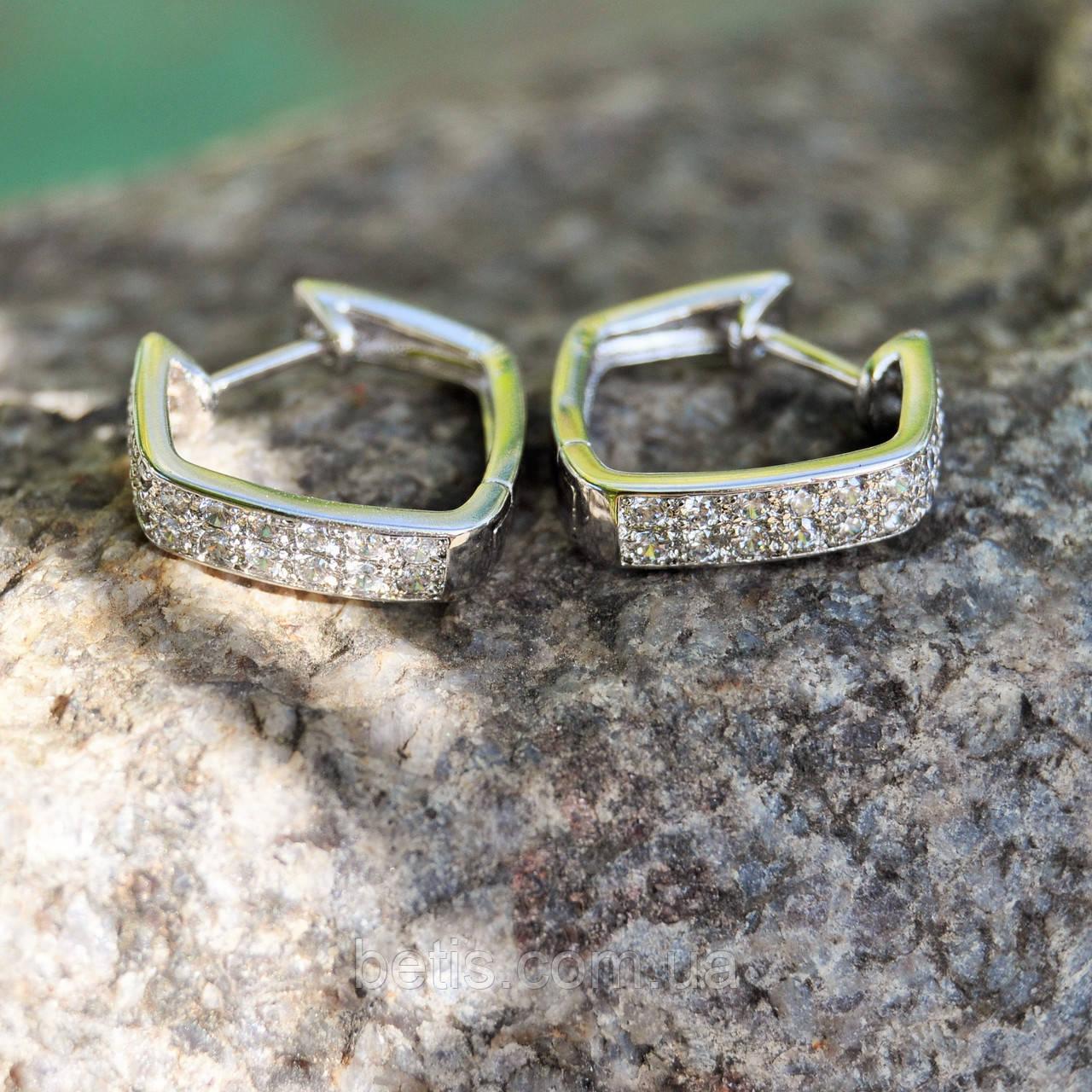 """Серьги """"Квадро"""" с камнями сваровскм,ювелирный сплав,серебристый цвет"""