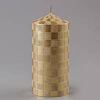 """Свадебная свеча """"Принт клетка""""  золото"""