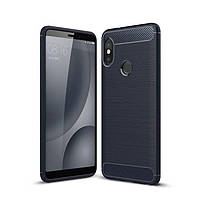 Чохол Carbon для Xiaomi Mi A2 / Mi 6X бампер Blue