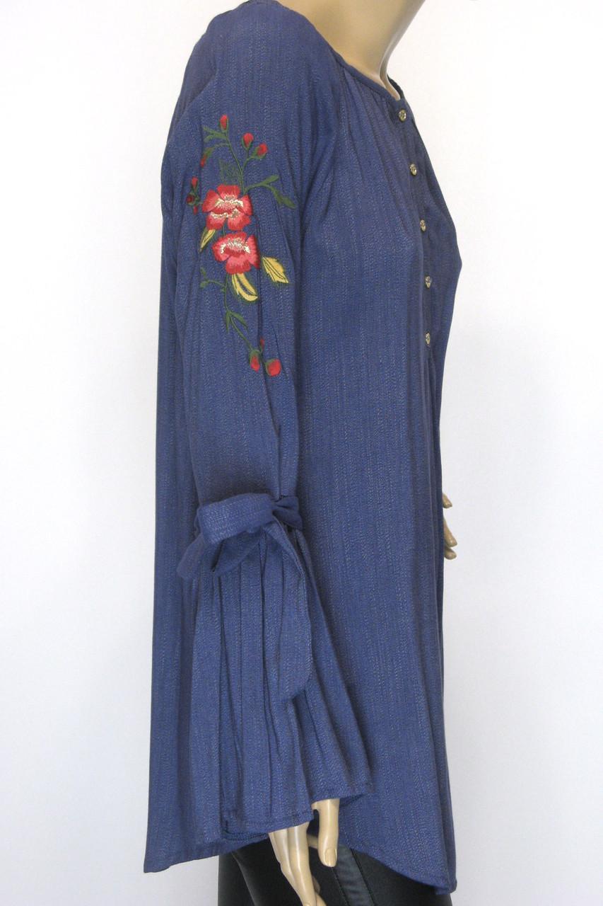 блуза туніка з вишивкою і рукавом воланом
