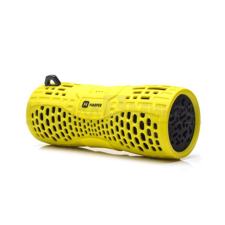 Колонки портативные 2.0 Harper PS-045 RMS 6W, Bluetooth, микрофон, влагонепроницаемые, питание от аккумулятора, жёлтый