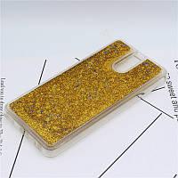Чехол Glitter для Meizu M6 Note Бампер Жидкий блеск Золотой