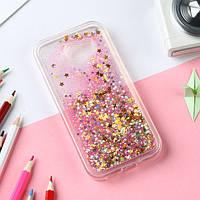 Чехол Glitter для Samsung A7 2017 / A720 Бампер Жидкий блеск звезды Розовый