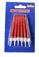 Свечи для торта с блёстками  красные