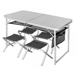 Стол складной Norfin RUNN NF алюминиевый 120x60 (+4 стула набор) серого цвета