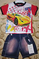 """Костюм футболка+шорты коттон для мальчика """"тачка"""" красный рост 86-104"""