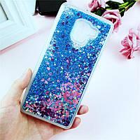 Чехол Glitter для Samsung A8 2018 / A530 бампер Жидкий блеск сердце Синий