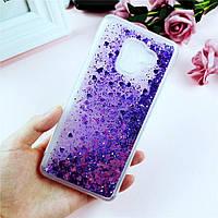 Чехол Glitter для Samsung A8 2018 / A530 бампер Жидкий блеск сердце Фиолетовый