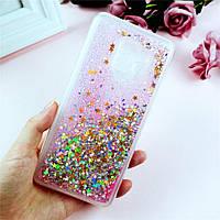 Чехол Glitter для Samsung A8 2018 / A530 бампер Жидкий блеск звезды Розовый