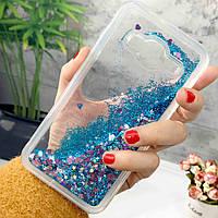 Чехол Glitter для Samsung G530 / G531 / Galaxy Grand Prime Бампер Жидкий блеск Синий