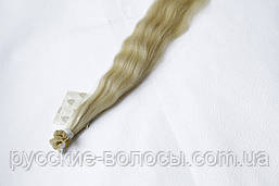 Волосы славянские на капсулах премиум+. Волнистый блонд.