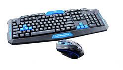 Беспроводный комплект клавиатура и мышка UKC HK-8100 Черный с синим (np2_0542)
