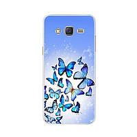 Чехол Print для Samsung J3 2016 / J320 / J300 силиконовый бампер Бабочки синие